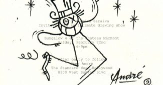 Mr. A's famed stick figure, drawn for The Talks on the invitation to his show at Chateau Marmont in Hollywood, California.