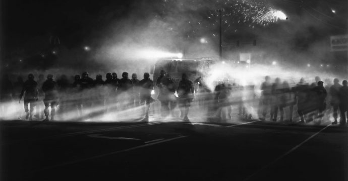 Untitled (Ferguson Police, August 13, 2014), 2014. Charcoal on mounted paper. 86 x 120 inches.