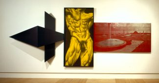 Robert Longo's Sword of the Pig, 1983. Lacquer on wood; charcoal, graphite, and ink on paper; plexiglass; silkscreen on aluminum. 97 3/4 x 229 1/2 x 28 inches.