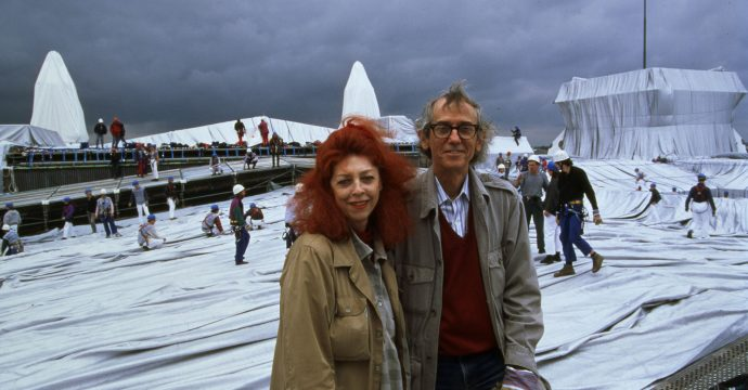 Jeanne-Claude and Christo on the roof of the Reichstag during the realization of