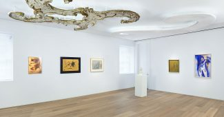 Installation view of Audible Presence: Lucio Fontana, Yves Klein, Cy Twombly at Dominique Lévy New York (September – November 2013)