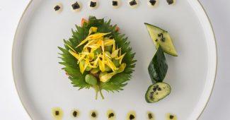 Yamashita vegetable salad with kyuri cucumber, kikka, edamame and shiso