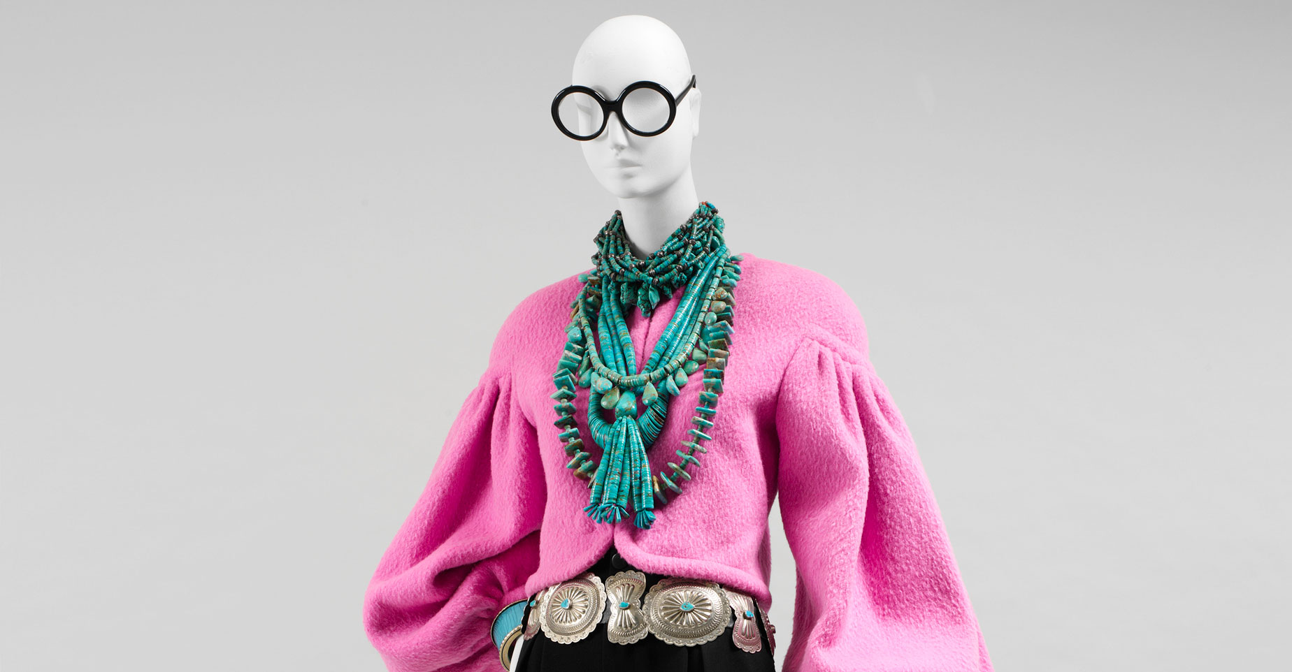Rara Avis, the Costume Institute at the Metropolitan Museum of Art's 2005 exhibition, featured clothing and objects from Iris Apfel's personal wardrobe spanning the last 40 years. Every ensemble was styled by Ms. Apfel herself.