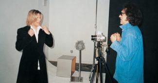 Mick Rock shooting David Bowie, 2002.