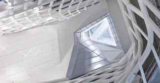 View looking up from the lobby at 41 Cooper Square in NYC