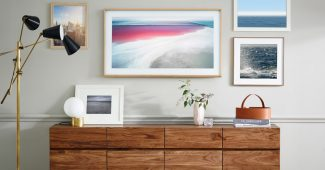 Samsung's The Frame is a smart LED TV that turns into a picture frame when off, blending in with the rest of the art exposed on the wall