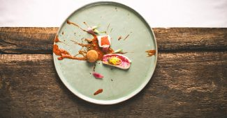 """""""Revival of brodetto"""" Red mullet, scorpion fish, candied lemon, red onion marinated in orange blossoms"""