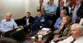 President Barack Obama, Vice President Joe Biden and Secretary of State Hilary Clinton watch the Osama bin Laden raid in the Situation Room (2011)