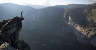 Alex Honnold at the top of El Capitan in Yosemite National Park