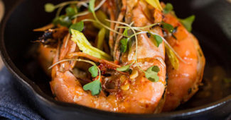 Louisiana shrimp and avocado with jalapeño jus at Compère Lapin