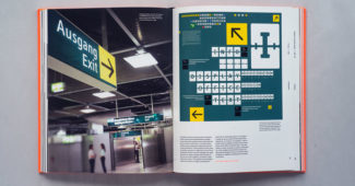 After a fire destroyed the terminal in the spring of 1996, new signage was needed in time for the holiday season. It took the team at MetaDesign six weeks to design and install new passenger information, introducing Spiekermann's FF Info as a typeface specifically designed for the purpose.