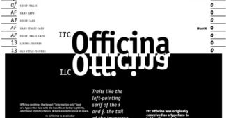 ITC Officina — Spiekermann's longest lasting typeface is ITC Officina. Designed in 1989 as answer to the needs of office correspondence in the coming age of desktop computers, it is still in demand.